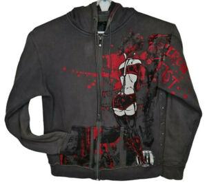 Iron Fist Fabricated Violence Comic BDSM Hoodie Jumper Sz L Full Zip Pockets