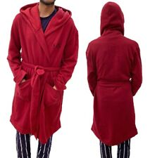 Mens Hooded Soft Fleece Robe Dressing Gown Bath Mens Night Gown With Hood New