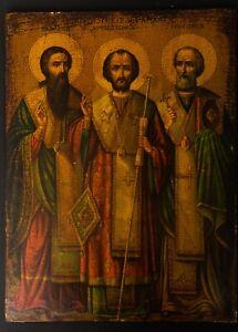 Antique Russian Orthodox Icon Saint Three Holy Hierarchs Old Religious Jesus Art