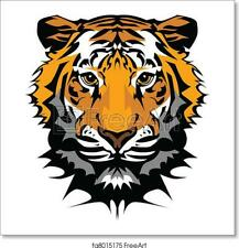 Tiger Head Vector Art Print / Canvas Print. Poster, Wall Art, Home Decor - C