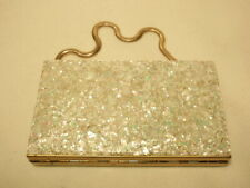 Vintage Makeup Vanity Compact Box Purse Case with Confetti Design