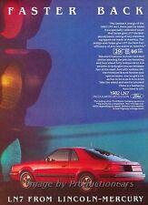 1982 Mercury LN7 - Faster Back - Original Advertisement Print Art Car Ad J788