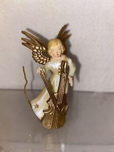 VTG Mid-Century Plastic Gold Wings Cello Choir Angel Figurine Christmas Ornament