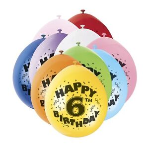 6TH BIRTHDAY BALLOONS - 10 Balloons AGE 6 six BOY or GIRL sixth children's party
