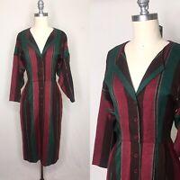 Vintage 80s Muted Striped Wool Sheath Dress Small