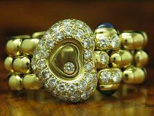 CHOPARD HAPPY DIAMONDS 18kt GOLD RING RG58 / 1,40ct BRILLANT + SAPHIR & SMARAGD