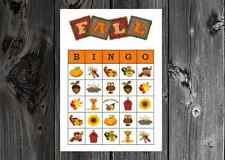 Autumn Fall Thanksgiving Halloween Party Game Bingo on Card Stock 10/20/30ct