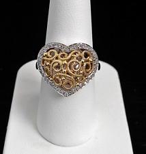 14 Karat Yellow and White Gold Diamond Heart Ring