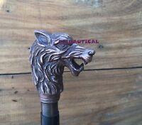 Vintage Gehstock Wolf Cane Aluminium Griff schwarz aus Holz Walking Cane Stick