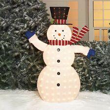 """56"""" Light-Up Fluffy Snowman Indoor Outdoor Christmas Yard Sculpture Decor"""