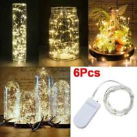 6 Pack 20 LED Battery Micro Rice Wire Copper Fairy String Lights Decor 2M - Yc