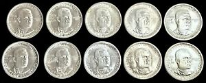 (10) 1946-1951 SILVER US BOOKER T WASHINGTON HALF DOLLAR 50C COMMEMORATIVE COINS