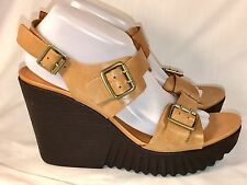 "ROCKPORT 10 M 42 Tan Beige Leather Straps Wedge PLATFORM SANDALS Shoes 4"" Heels"
