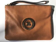 Mimco Supernatural Polished Leather Honey Tan Pouch Wristlet Bag Medium