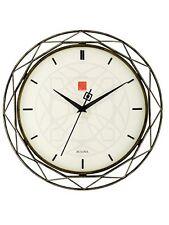 """Bulova Frank Lloyd Wright Luxfer Prism 14"""" Metal Quartz Wall Clock C4834"""