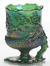Spooner Spoonholder - Acorn - Hunter Green Carnival Glass - Mosser USA
