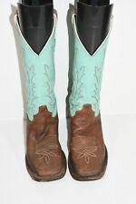JUSTIN BRL310 WOMENS 6.5 B CHOCOLATE SEA GREEN LEATHER SQUARE TOE COWBOY BOOTS