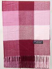 100% Cashmere Scarf Pink Red Check Tartan Plaid SCOTLAND Warm Wool Women R94