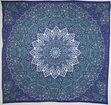 USA SELLER Blue and Green Square Mandala Tapestry Beach Towel TP007 + FREE Gift