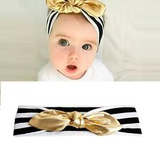 Gold Newborn Baby Cotton Headband Knotted Bow Head Wraps Kids Hair Accessories