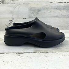 Women's Solvei by DANSKO Black Slip On Slides Wedge Peep Toe Sandal Size 9.5-10