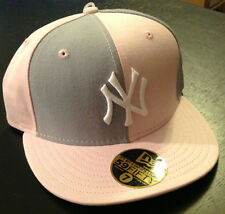 New York Yankees NEW ERA 59FIFTY Fitted Hat Pink/Grey MLB AUTHENTIC Size 7