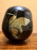 "SIGNED! Famous Artist, Joan Reep, Silver Series Studio Glass Vase 5 1/4 X 5 """