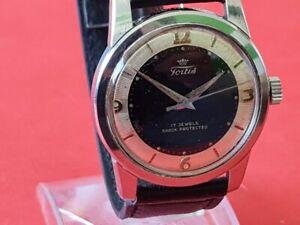 Herren Armbanduhr / Uhr Fortis Handaufzug Vollstahl aus den 60´er Jahren !!!