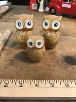 VINTAGE Owl MCM SALT AND PEPPER SHAKER SET With Toothpick Holder Japan