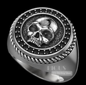 Black Onyx Skull decent 925 Italian sterling Silver biker rider Ring