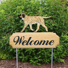 Mastiff Wood Welcome Outdoor Sign Fawn Brindle