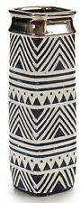 30cm Tall Ceramic Black White & Silver Flower Vase Bottle Square Vase