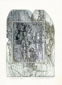 Historical  Ex libris  Bookplate Etching by Pavel Hlavaty