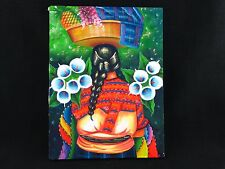 Beautiful Guatemalan Mayan Painting on Canvas Traditional Dress Cloth & Flowers