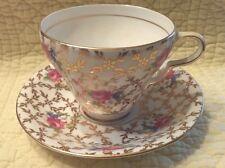 Clare Bone China England Tea Cup & Saucer Gilt & Chintz Design Rare Misprint EE