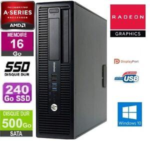 HP EliteDesk 705 G1 SFF PRO A4 3,8 GHz - SSD 240 Go + HDD 500 Go RAM 16 Go Win10