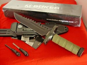 "Boker Magnum 12-1/2"" Fixed Blade Survival 02SC005 Sheath Knife MINT IN BOX"