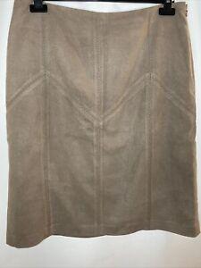 Vintage VTG 80s 90s Next Suede Like Panelled A-Line Skirt Sz UK16 Eur44 Lined