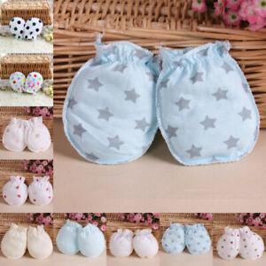 2Pairs Newborn Baby Unisex Anti Scratch Mittens Cotton Warm Handguard Gloves