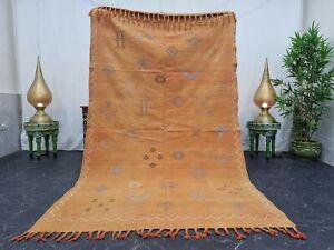 "Moroccan Handmade Cactus Silk 5'x8'3"" Sabra Berber Geometric Faded Orange Rug"