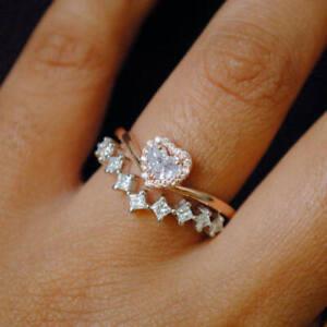 14k Rose+White Gold Over 2.00Ct Heart Shape Diamond Bridal Set Engagement Rings