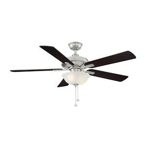 Larson 52 in. LED Brushed Nickel Ceiling Fan With Light Kit by Hampton Bay