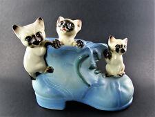 Vintage Lipper & Mann Porcelain Planter Cats Kitten with Boot 16/53 Japan (E60)