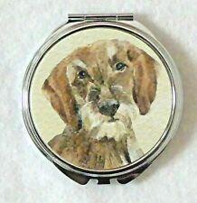 DACHSHUND WIRE HAIRED DOG LADIES COMPACT MIRROR DESIGN SANDRA COEN ARTIST PRINT
