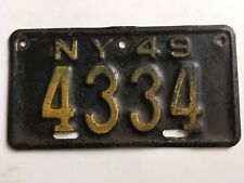 1949 New York Motorcycle License Plate All Original YOM Harley Triumph Indian