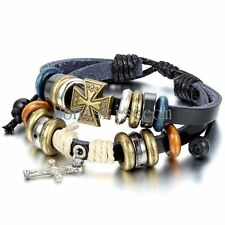 Vintage Celtic Cross Multi-layer Tribal Leather Men Women Ajustable Bracelet