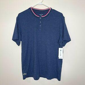 Lacoste Sleepwear T-Shirt 3-Button Henley Lounge Blue Men's Sz Large NEW