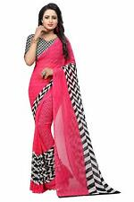 Indian Soft Georgette Crepe Blend Saree With Blouse Piece For Women&Girls, Multi