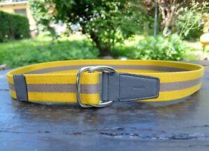 BALLY GÜRTEL 100CM belt 100 cm cotton leather made in italy yellow grey