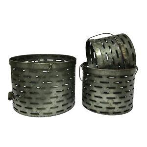 Olive Bucket Set of 3 Metal Buckets Farmhouse